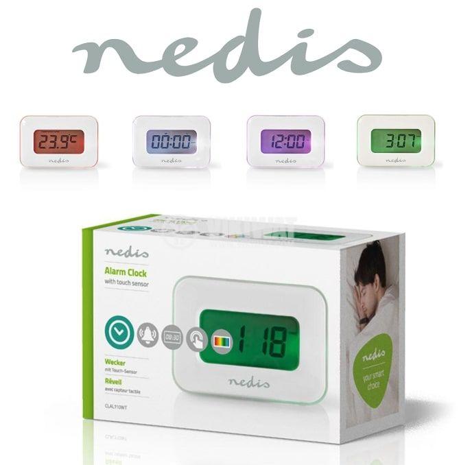 Дигитален часовник с подсветка -  термометър, будилник и календар,CLAL110WT, Nedis - 2