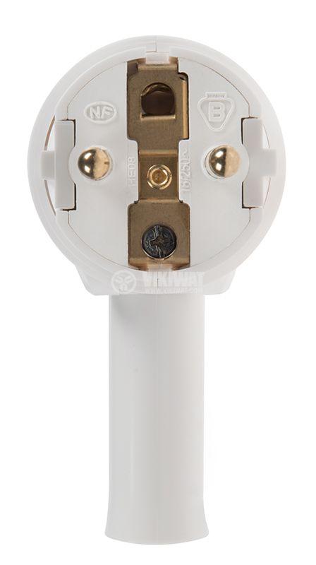 Електричеки щепсел шуко, Г-образeн, 230VAC, 16A, бял, с механизъм за лесно изваждане, LEGRAND 50175 - 3