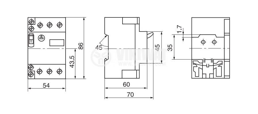 Motor protection circuit breaker (AT00) DZ108-1, three-phase, 8-12.5 A, NO + NC, 6A/380VAC - 2