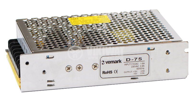 Switch power supply D-75, ±15 VDC, 2 X 2.5 A, 75 W - 2