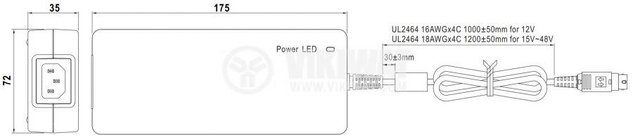 Адаптер 24VDC, 6.67A, 160W, 85~264VAC, 120~370VDC, импулсен - 2