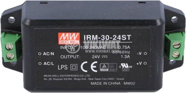 Захранване 1.3A/24VDC, 31.2W, IRM-30-24ST - 2
