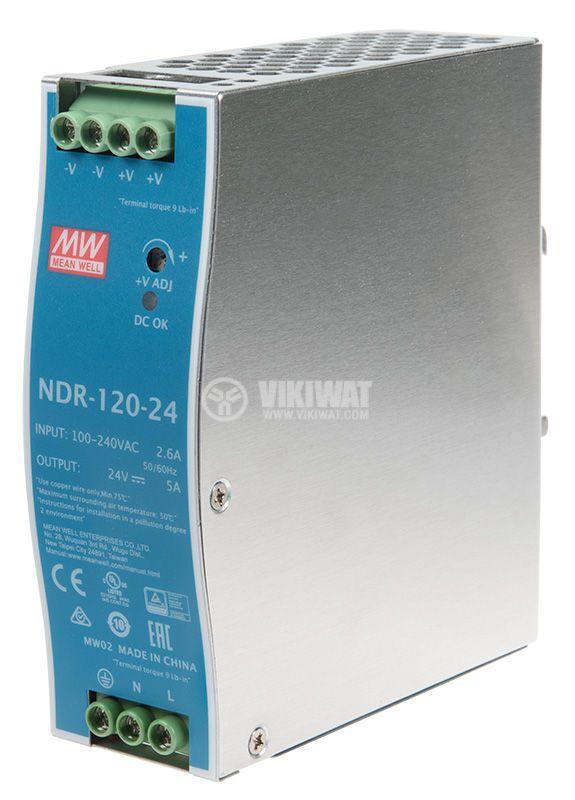 Импулсно захранване 5A/24VDC 120W NDR-120-24 - 1