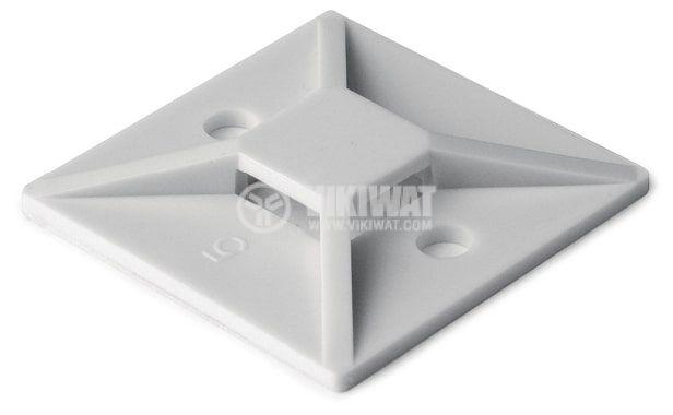 Самозалепваща се основа за кабелни превръзки MB3A-NA, 19x19mm, бяла, HellermannTyton, 151-28349 - 1
