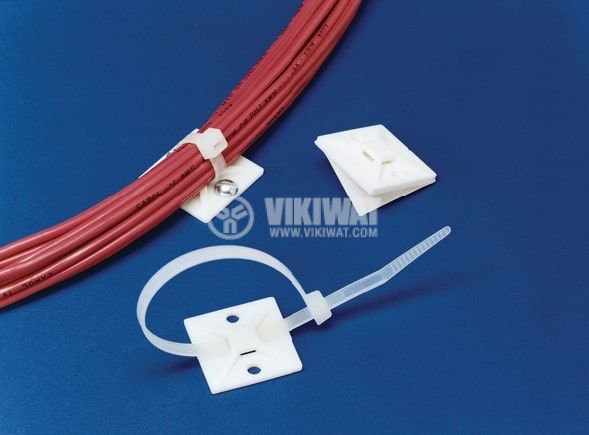 Квадртана основа за кабелни превръзки MB3A-NA, 19x19mm, бял цвят, с винтове и лепило,  HellermannTyton, 151-28349 - 2