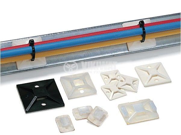 Квадртана основа за кабелни превръзки MB3A-NA, 19x19mm, бял цвят, с винтове и лепило,  HellermannTyton - 3
