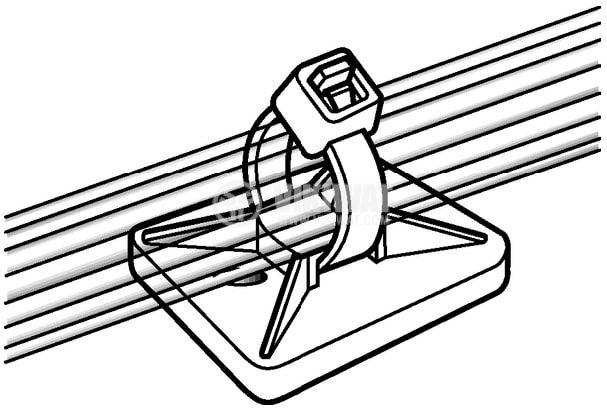 Квадртана основа за кабелни превръзки MB3A-NA, 19x19mm, бял цвят, с винтове и лепило,  HellermannTyton  - 4