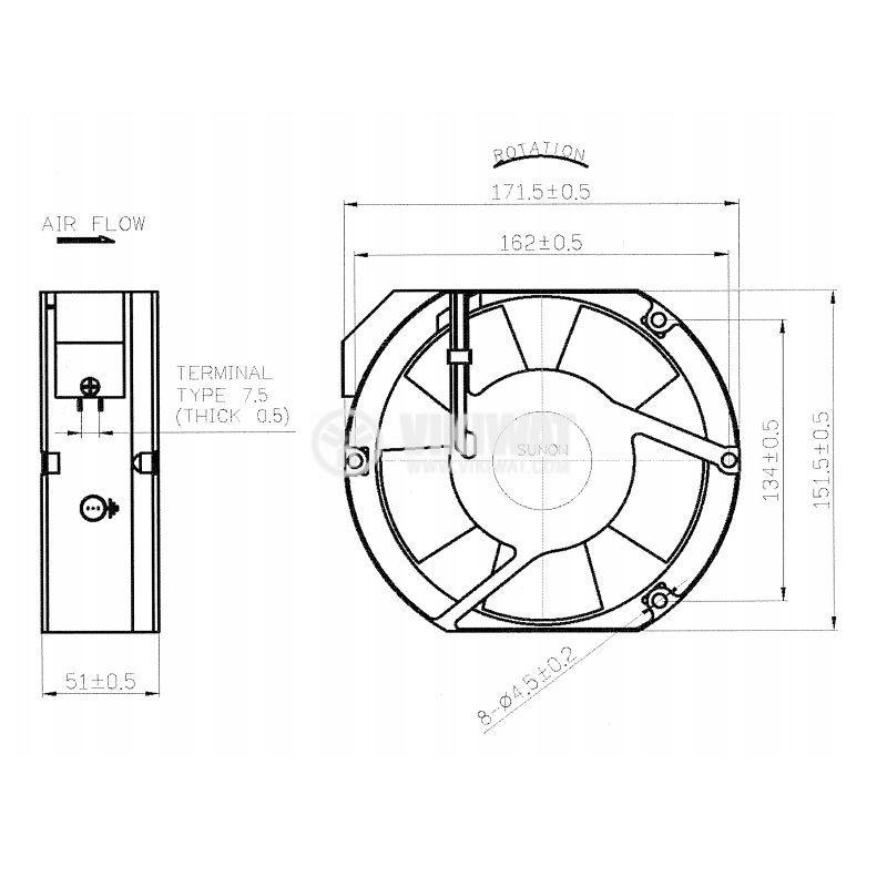 Вентилатор със сачмен лагер 345.1m³/h - 4