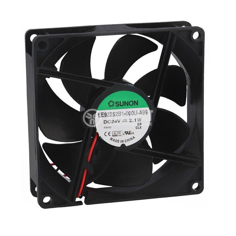 Вентилатор 24VDC, 92x92x25mm, със сачмен лагер, 87.55m³/h, EE92252B1-A99, безчетков - 1