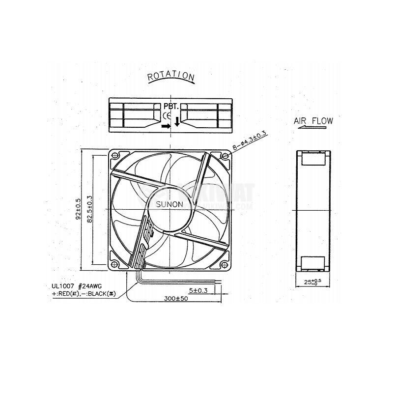 Вентилатор 24V 92x92x25mm лагер 87.55m3h EE92252B1-A99 - 2