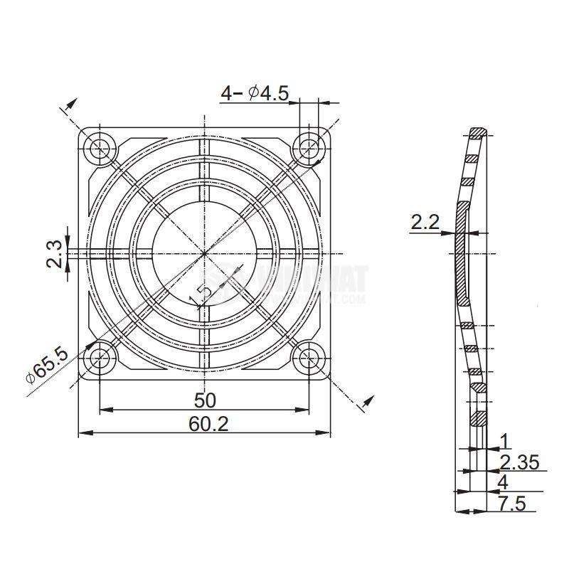 Решетка за вентилатор FB-06, 60x60mm, черна - 2