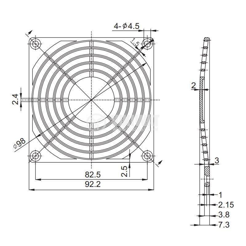 Решетка за вентилатор FB-09, 92x92mm SUNON - 2