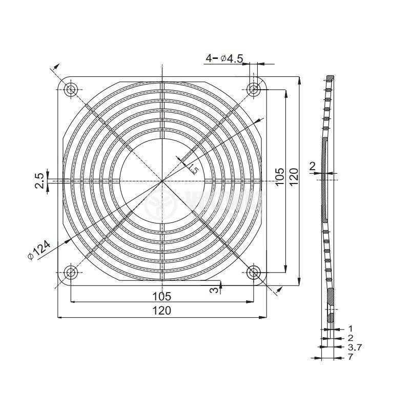 Решетка за вентилатор FB-12, 120x120mm, SUNON - 2