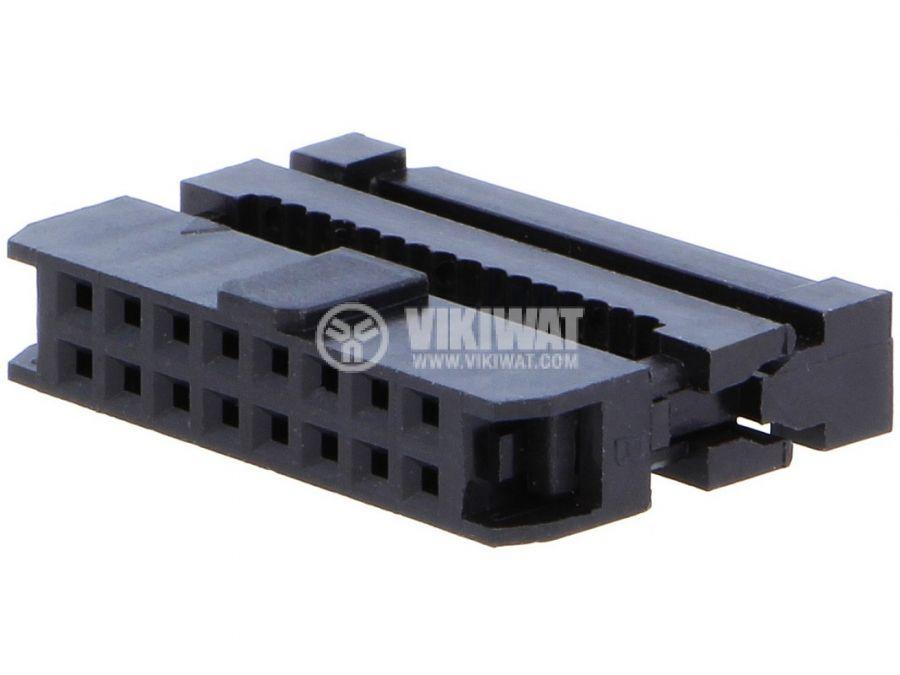 Съединител IDC женски 16 пина растер 2mm 2х8