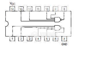 Интегрална схема 7440, TTL, DUAL 4-INPUT NAND BUFFER, DIP14 - 2