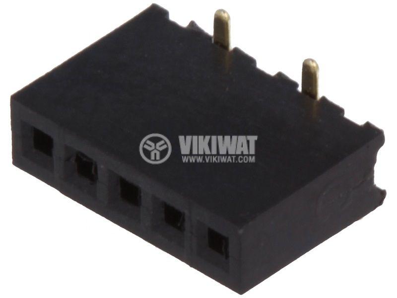 Съединител щифтов 5 контакта гнездо SMT на платка растер 1.27mm DS1065-02-1*5S8BS
