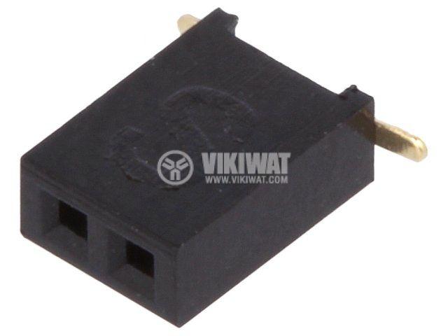 Съединител щифтов 2 контакта гнездо SMT на платка растер 1.27mm DS1065-05-2*1S8BS