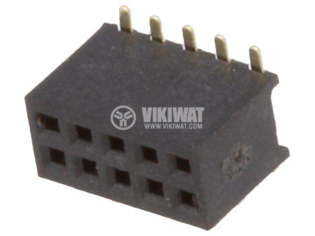 Конектори щифтов 10 контакта гнездо SMT на платка растер 1.27mm - 1