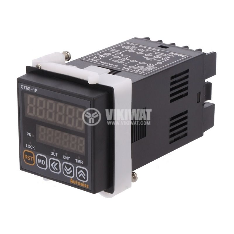 Counter impulse/hours CT6S-1P4, electronic, 100~240VAC, NPN, PNP, from 0.001s to 99999.9h / from 0 to 999999 - 1