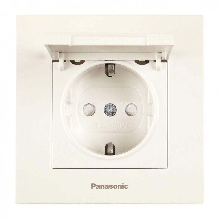 Електрически контакт с капак (шуко) единичен 16A 250V крем за вграждане Karre Plus Panasonic WKTC0210-2BG