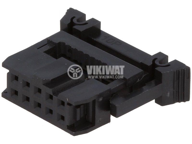 Съединител IDC женски 10 пина растер 2.54mm 2х5 - 1