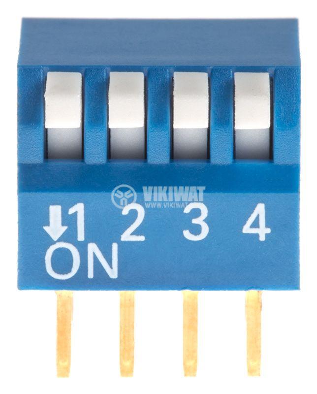 Микропревключвател DIP плъзгач, 4 секции, 0.05A/12VDC, ON-OFF, THT  - 1