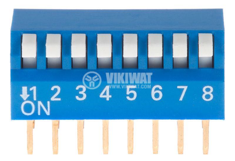 Микропревключвател DIP плъзгач, 8 секции, 0.05A/12VDC, ON-OFF, THT  - 1