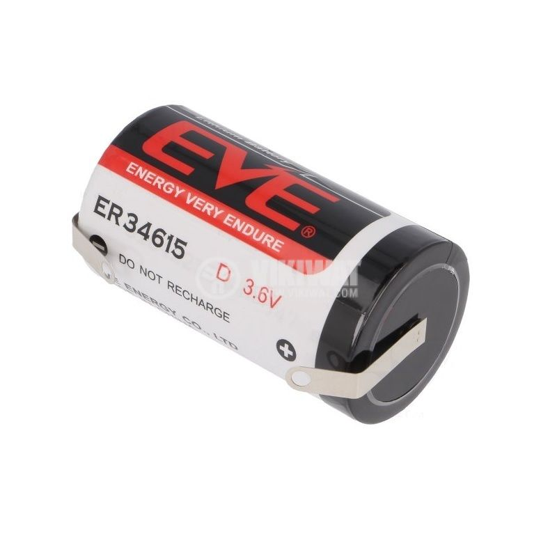 Lithium Battery, EVE-ER34615CNR, ф32.9x61.5mm, D, 3.6VDC, 19000mAh