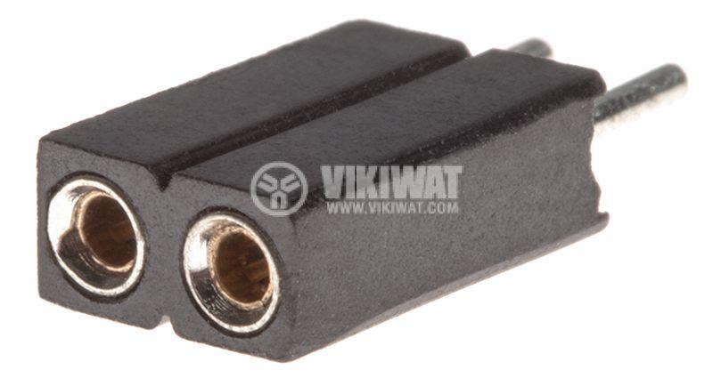 Съединител щифтов, 2 контакта, гнездо, THT на платка, растер 2.54mm - 1