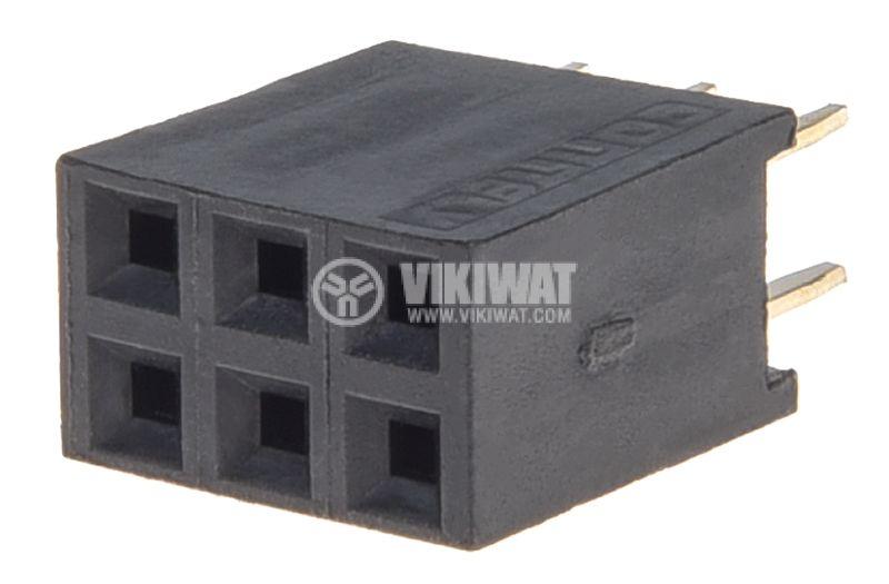 Съединител щифтов, 6 контакта, гнездо, THT на платка, растер 2.54mm - 1