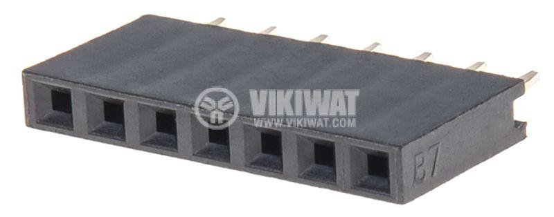 Съединител щифтов, 7 контакта, гнездо, THT на платка, растер 2.54mm - 1