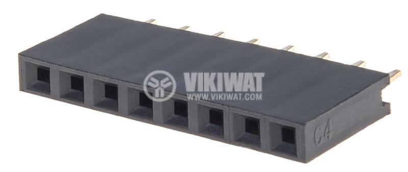 Съединител щифтов, 8 контакта, гнездо, THT на платка, растер 2.54mm - 1