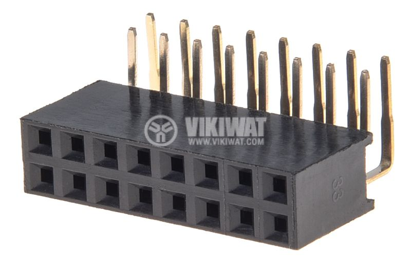Съединител щифтов, 16 контакта, гнездо, THT на платка, растер 2.54mm - 1