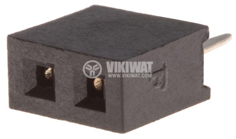 Съединител щифтов, 2 контакта, гнездо, THT на платка, растер 2mm - 1