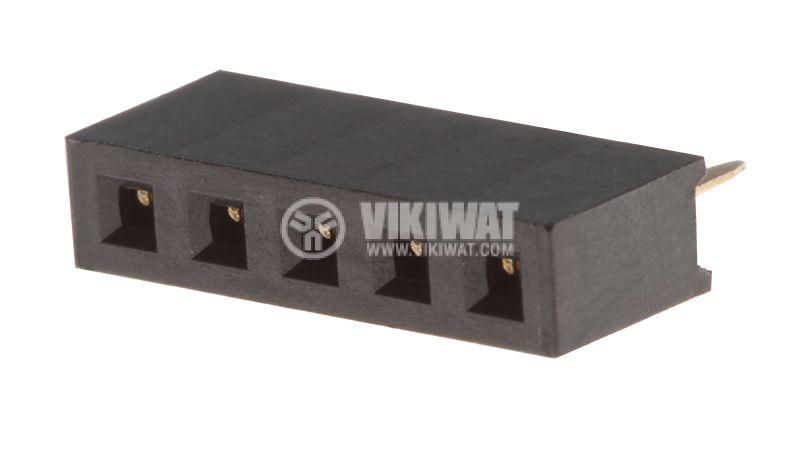 Съединител щифтов, 5 контакта, гнездо, THT на платка, растер 2mm - 1