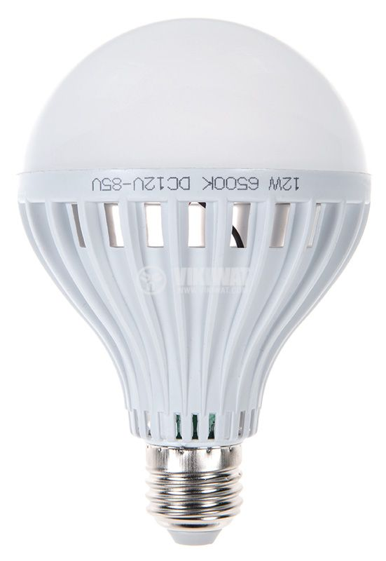 LED лампа 12W, Е27, 12VDC, 6500K, студено бяла  - 1