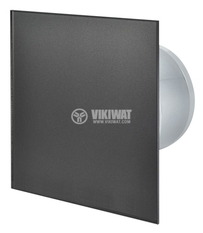 Вентилатор за баня Ф100mm с клапа 220V 18W 169m3/h квадратен 163x163 асфалт - 1
