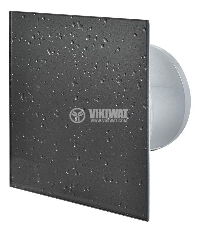 Вентилатор за баня Ф100mm с клапа, 220V 18W 169m3/h квадратен 163x163 мокър асфалт - 1