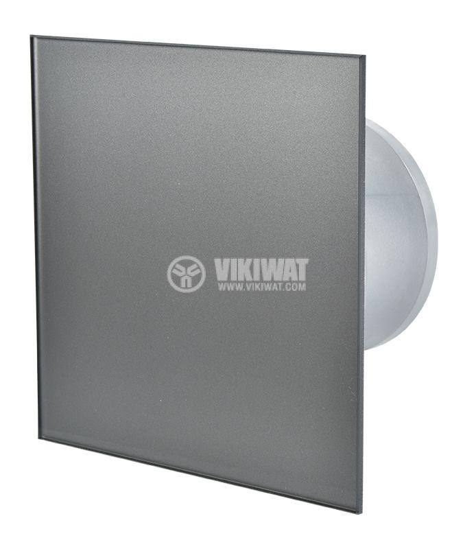 Вентилатор за баня Ф100mm с клапа, 220V 18W 169m3/h квадратен 163x163 графит - 1