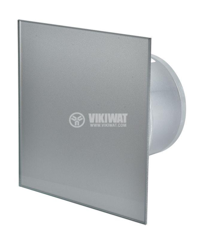 Вентилатор за баня с клапа инокс, ММP 06, работен отвор ф100mm, висок дебит 169m3/h  - 1