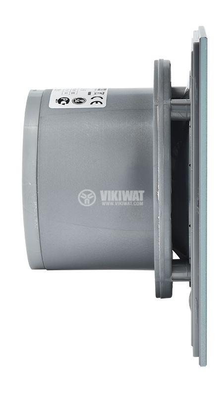 Вентилатор за тоалетна със стъклен панел квадрат - монтажен отвор ф100мм, инокс, ММоторс - 4