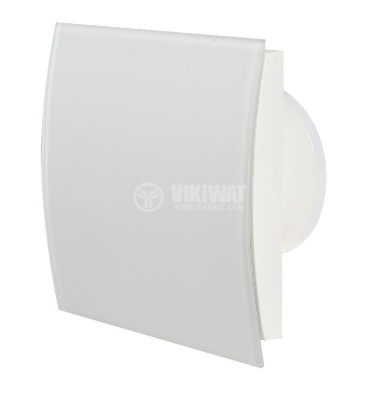 Вентилатор за баня Ф100mm с клапа 220V 18W 169m3/h квадратен 170x170 бял мат - 1