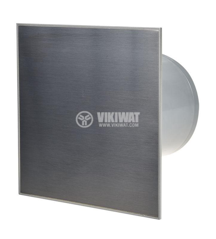 Вентилатор за баня MMP 01 Ф100mm с клапа 220V 13W 105m3/h квадратен 157x157 хром - 1