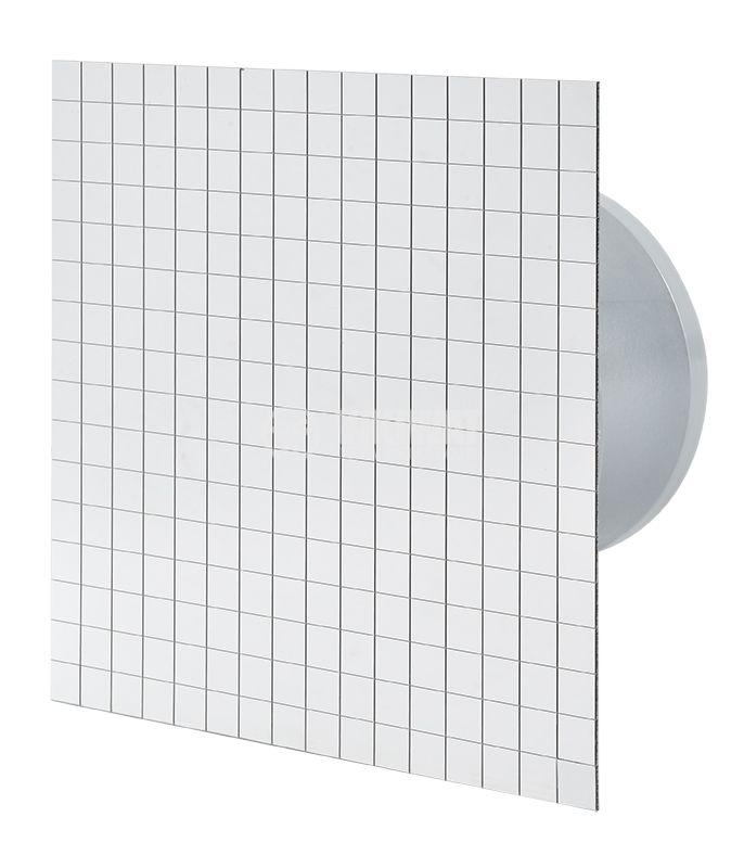 Вентилатор за баня Ф100mm с клапа 220V 18W 169m3/h квадратен 163x163 хром - 1