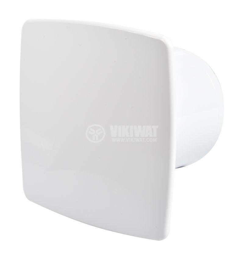 Вентилатор за баня MMP 01 Ф100mm с клапа 220V 13W 105m3/h квадратен 155x155 бял - 1