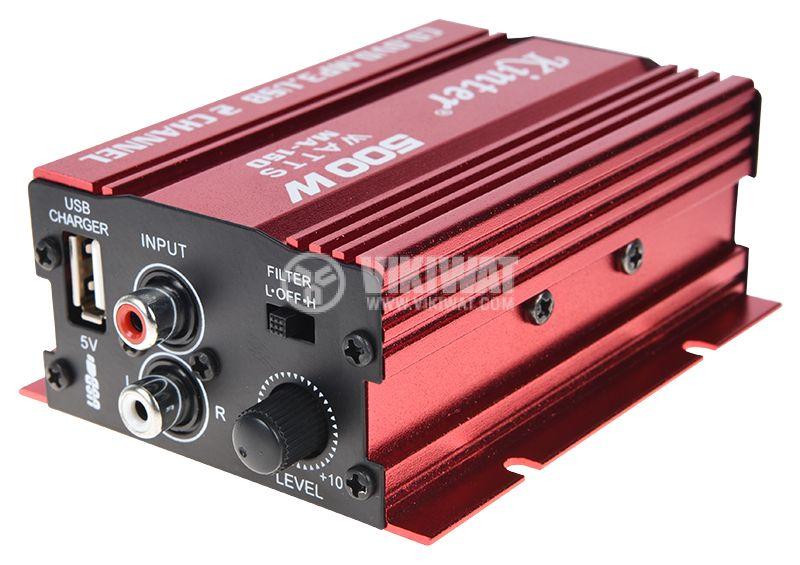 Усилвател автомобилен, MA-150, 2 канала, 2x18W@4ohm, RCA L/R, 12VDC - 4