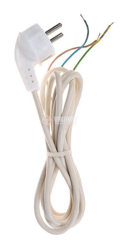 Захранващ кабел 3x0.5mm2, 2m, шуко Г-образно, бял, PVC - 1