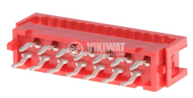 Конектор проводник-платка, преходник, 14 пина, женски, IDC, THT, DS1015-02-14R6 - 1