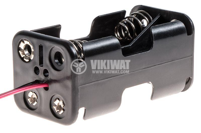 Държач за батерии 4xAA с проводници  - 1