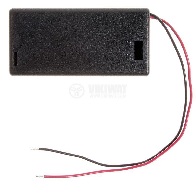 Държач за батерии 2xAA с проводници SBH-321-1A - 1